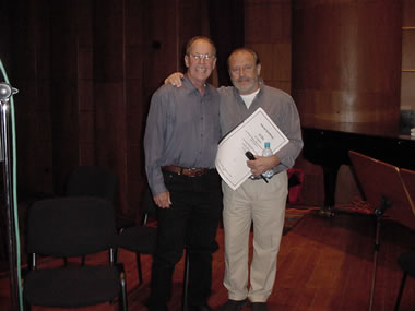 Photo of composer Harold Schiffman and conductor Mátyás Antal after recording Alma. János Richter Hall, Győr, Hungary (20 October 2002)