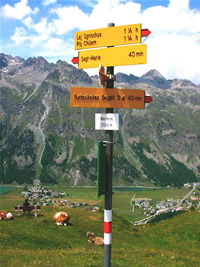 Photo of sign post in the Upper Engadine, Switzerland (28 June 2003)