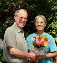 Photo of composer Harold Schiffman and webmaster Elsa Leslie. Tallahassee, Florida (25 June 2006)
