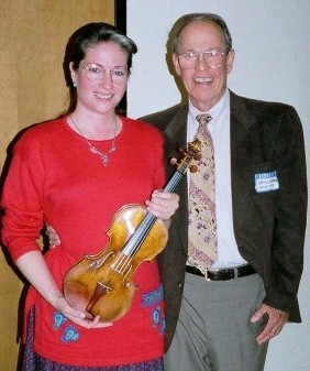 Photo of violinist Rebekah Binford and composer Harold Schiffman. Charlotte, North Carolina (26 March 1998)