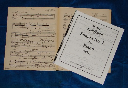 Photo of Harold Schiffman's Sonata No. 1 for Piano (1951) in original manuscript and now in print. Tallahassee, FLorida (29 January 2007)