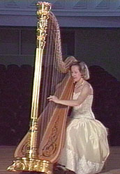 Photo of harpist Erzsébet Gaál. Bloomington, Indiana (1998) Photograph by Charles Hodge © 1998 Charles Hodge, Final Cut Video Productions