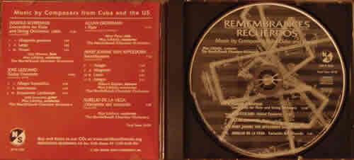 Photo of the inside liner and CD label for Remembrances|Recuerdos: Music by Composers from Cuba and the US