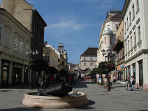 Photo of streets in the center of the old city of Győr, which are but a short walk from the János Richter Hall. Győr, Hungary (16 September 2007) Photograph by Szidónia Juhász