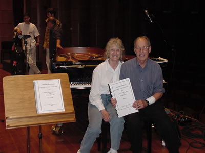 Photo of pianist Jane Perry-Camp, composer Harold Schiffman – after recording Chamber Concerto No. 2:  In Memoriam Edward Kilenyi (2000). János Richter Hall, Győr, Hungary (15 June 2003) Photograph by Szidónia Juhász