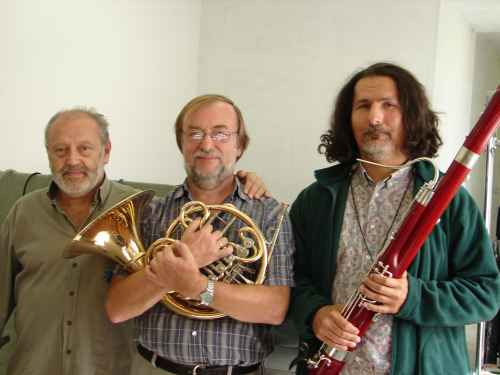 Photo taken backstage after recording the Double Concerto for Horn, Bassoon and String Orchestra:  Mátyás Antal, conductor; Tamás Zempléni, French horn; and Pál Bokor, bassoon. János Richter Hall, Győr, Hungary (16 September 2007)