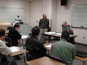 Photo of Schiffman with masterclass students at University of North Carolina Greensboro (29 February 2008). Photograph by Jennifer Scott