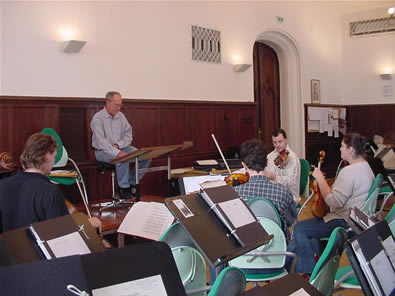 Photo of Rehearsal:  Harold Schiffman with Auer Quartet. Budapest, Hungary (1 October 2004)