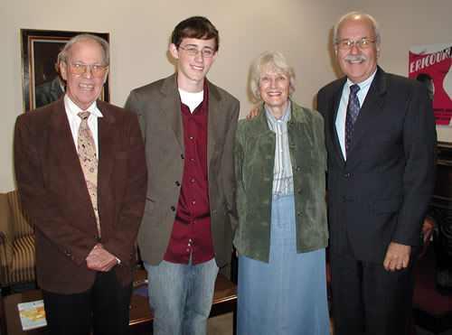 Harold Schiffman, James Lego (the inaugural recipient of the Harold Schiffman High School Composition Competition's award), Jane Perry-Camp, Dean John J. Deal