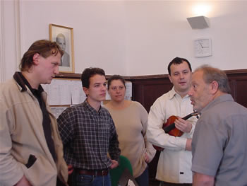 Photo of Rehearsal:  Mátyás Antal with Auer Quartet. Budapest; Hungary (1 October 2004)