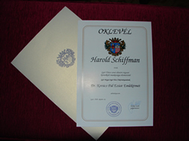 The City of Győr's Certificate of Appreciation to Harold Schiffman