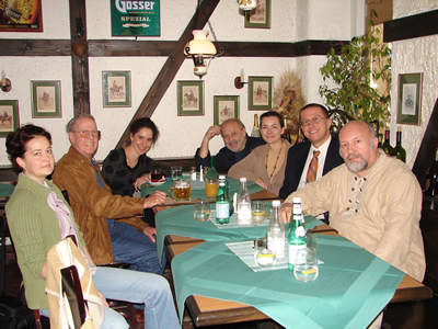 "Photo of the principals involved in recording Variations on ""Branchwater"" gathered at Győr's Monarchia Restaurant. Győr, Hungary (12 October 2008)"