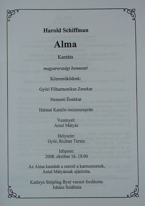 Photo of Detail of Alma's program cover, showing participants' names and credits, Győr, Hungary (16 October 2008)
