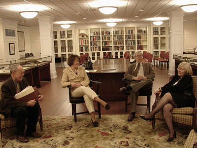 Harold Schiffman, Miriam Blackwelder Fields, William  K. Finley, Julia Rosenthal in the Hodges Reading Room of Special Collections and Archive section of the Walter Clinton Jackson Library, The University of North Carolina at Greensboro (20 February 2009)