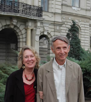 Poet Kathryn Stripling Byer and her husband Professor Emeritus James Byer at the Miklós Révai utca entrance to Győr's City Hall, following the ceremony honoring Harold Schiffman.  Győr, Hungary (16 October 2008) Photograph by Constance H. Kotis