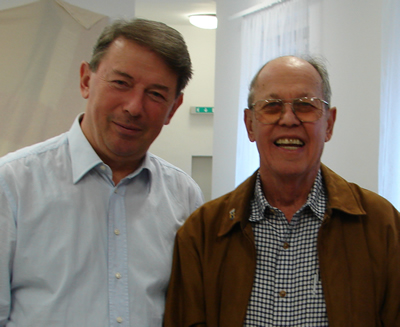 Harold Schiffman and Géza Németh, Concertmaster Emeritus of the Győr Philharmonic Orchestra who performed the violin solo parts for the recording of Symphony (1961), photographed backstage at the János Richter Hall, Győr. Győr, Hungary (20 October 2008)