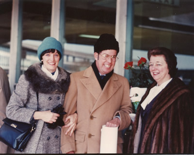 L to R: Jane Perry-Camp, Harold, Janice Harsanyi - at LaGuardia Airport, awaiting the return flight to Tallahassee after the Alice Tully Hall at Lincoln Center concert with its world première of Epigram (1980); New York, New York. (31 January 1981) Photograph by Nicholas Harsanyi