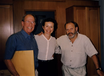 Photo taken before recording the oboe d´amore concerto:  Harold Schiffman, composer; Julie Ann Giacobassi, solo oboe d´amorist; Mátyás Antal, conductor. The MATAV Music House, Budapest, Hungary (1 July 1999)