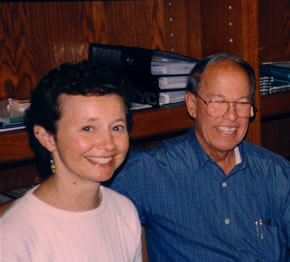 Photo of soloist Julie Ann Giacobassi and composer Harold Schiffman at editing session. Budafok, Hungary (3 July 1999)