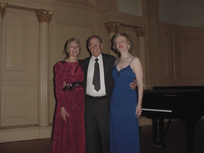 Photo taken inside Weill Recital Hall at Carnegie Hall, New York: Jane Perry-Camp, Harold Schiffman and Gayle Seaton taken at Carnegie Hall on stage after the All-Schiffman Concert celebrating his 75th Birthday; North/South Consonance Concert Series. (10 March 2003) Photograph by Douglass Seaton