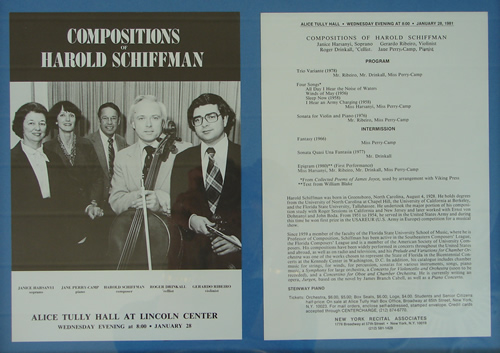 Photo of the flyer for the all-Schiffman Alice Tully Hall concert that included the world première of Epigram (1980).