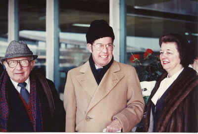 L to R: Nicholas Harsanyi, Harold, Janice Harsanyi - at LaGuardia Airport, awaiting the return flight to Tallahassee after the Alice Tully Hall concert with its world première of Epigram (1980)