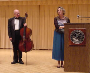 Photo of violoncellist David Moore, poet Kathryn Stripling Byer. Coulter Recital Hall, Western Carolina University, Cullowhee, North Carolina (26 August 2004)