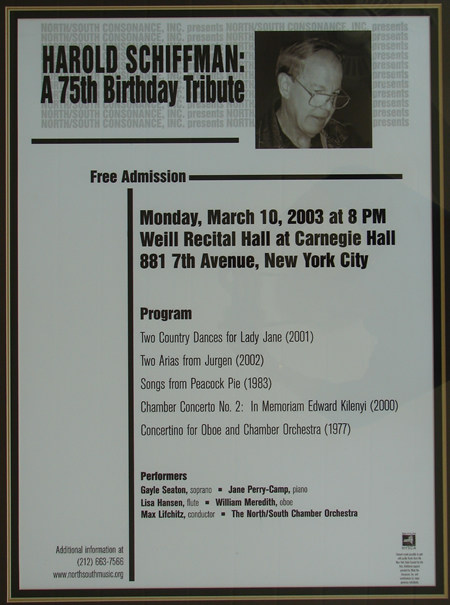 Photo of the poster for the all-Schiffman concert in Weill Hall of Carnegie Hall, celebrating the 75th birth year of the composer, and offering world premières of Anaïtis´s arias (2002), Two Country Dances for Lady Jane, for Piano (2001)