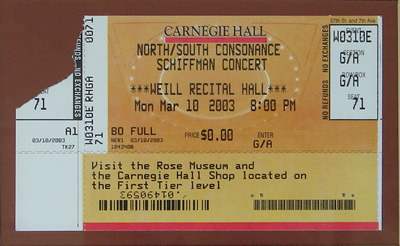 Photo of an admission ticket for the all-Schiffman concert in Weill Hall of Carnegie Hall, celebrating the 75th birth year of the composer, and offering world premières of Anaïtis´s arias (2002), Two Country Dances for Lady Jane, for Piano (2001)