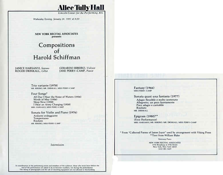 Photo of the program booklet contents for the all-Schiffman Alice Tully Hall concert that included the world première of Epigram (1980).