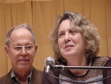 Photo of composer Harold Schiffman and poet Kathryn Stripling Byer. Coulter Recital Hall, Western Carolina University, Cullowhee, North Carolina (26 August 2004)