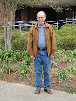 Photo of Harold Schiffman standing in front of the Florida State University Broadcast Center, 1600 Red Barber Plaza, prior to his interview for its 3 April 2009 broadcast.; Tallahassee, Florida (31 March 2009)