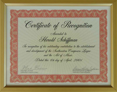 "Photo of Certificate of Recognition to Harold Schiffman for ""his outstanding contribution to the establishment and development of the Southeastern Composers League and the Art of Music"" Dated 6 April 2001"