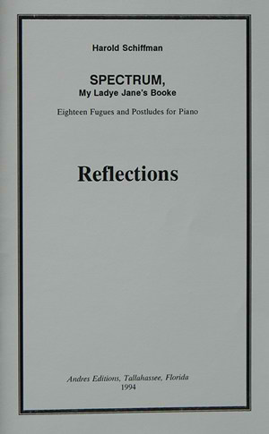 Photo of the cover of Reflections: a booklet of essays accompanying performances of Spectrum, explaining and reacting to the composition; Published by Andres Editions 1994