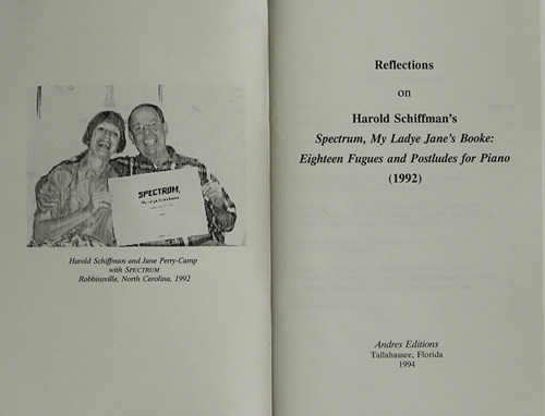 Photo of the frontispiece and title page of Reflections: a booklet of essays accompanying performances of Spectrum, explaining and reacting to the composition; Published by Andres Editions 1994