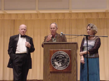 Photo of violoncellist David Moore, composer Harold Schiffman, poet Kathryn Stripling Byer. Coulter Recital Hall, Western Carolina University, Cullowhee, North Carolina (26 August 2004)