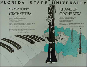 Photo of the poster for the world première of Harold Schiffman's Piano Concerto (1982); Opperman Music Hall, The Florida State University, Tallahassee, Florida (14 February 1984)