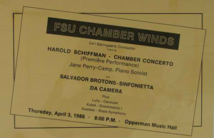 Photo of the poster for the world première of the Chamber Concertino for Piano and Double Wind Quintet (1985); Opperman Music Hall, The Florida State University, Tallahassee, Florida (3 April 1986)