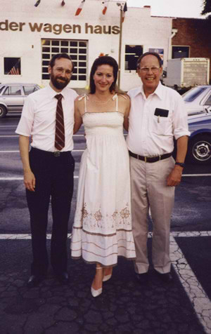 Photo of (L to R) Rebekah Binford, Michael Schultz, and Harold Schiffman after the world première of Duo Concertante (for violin and English horn) (1990); Durham, North Carolina (6 June 1990)