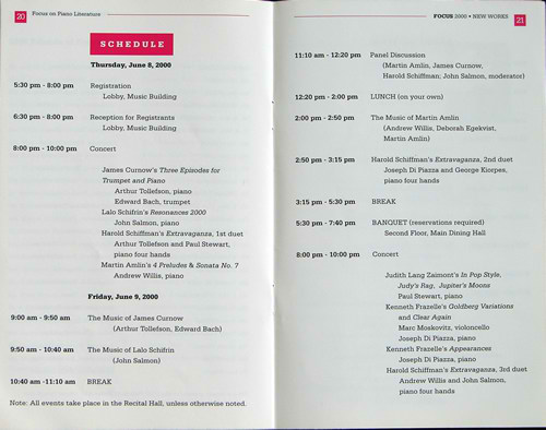 Photo of pages 20 and 21 of the program announce the performance of each of the three piano duets, played as a separate composition. (8-10 June 2000) Photograph courtesy of UNCG School of Music