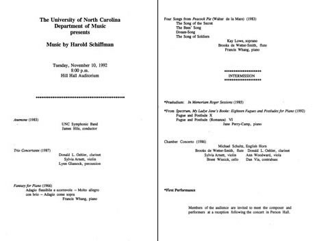 Photo of the program for the 1992 all-Schiffman concert presented by the  University of North Carolina Department of Music. Hill Hall Auditorium, The University of North Carolina at Chapel Hill (10 November 1992)