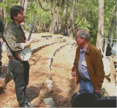 Photo of Harold Schiffman with banjoist Ken Perlman. Suwannee Banjo Camp, O'Leno State Park, Florida (19 March 2006)