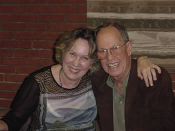 Photo of poet Kathryn Stripling Byer and composer Harold Schiffman after the première of Wake (2003). Coulter Recital Hall, Western Carolina University, Cullowhee, North Carolina (26 August 2004)