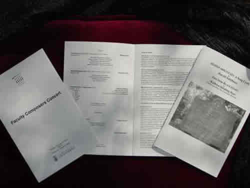Photo of Programs from the performance of Blood Mountain at the University of North Carolina at Greensboro (23 February 2010)