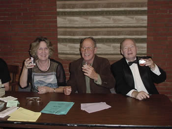 Photo of poet Kathryn Stripling Byer, composer Harold Schiffman, violoncellist David Moore:  post-concert reception. Coulter Recital Hall, Western Carolina University, Cullowhee, North Carolina (26 August 2004)