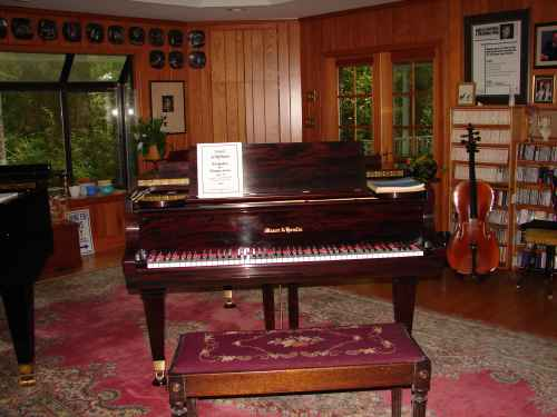 Photo of Harold Schiffman's newly restored 1927 Mason & Hamlin grand piano.