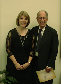 Photo of Harold Schiffman and Angela Willoughby, who arranged for Extravaganza's performance and other elements of the concert, seen immediately prior to the concert in the Williams Recital Hall (4 November 2011)