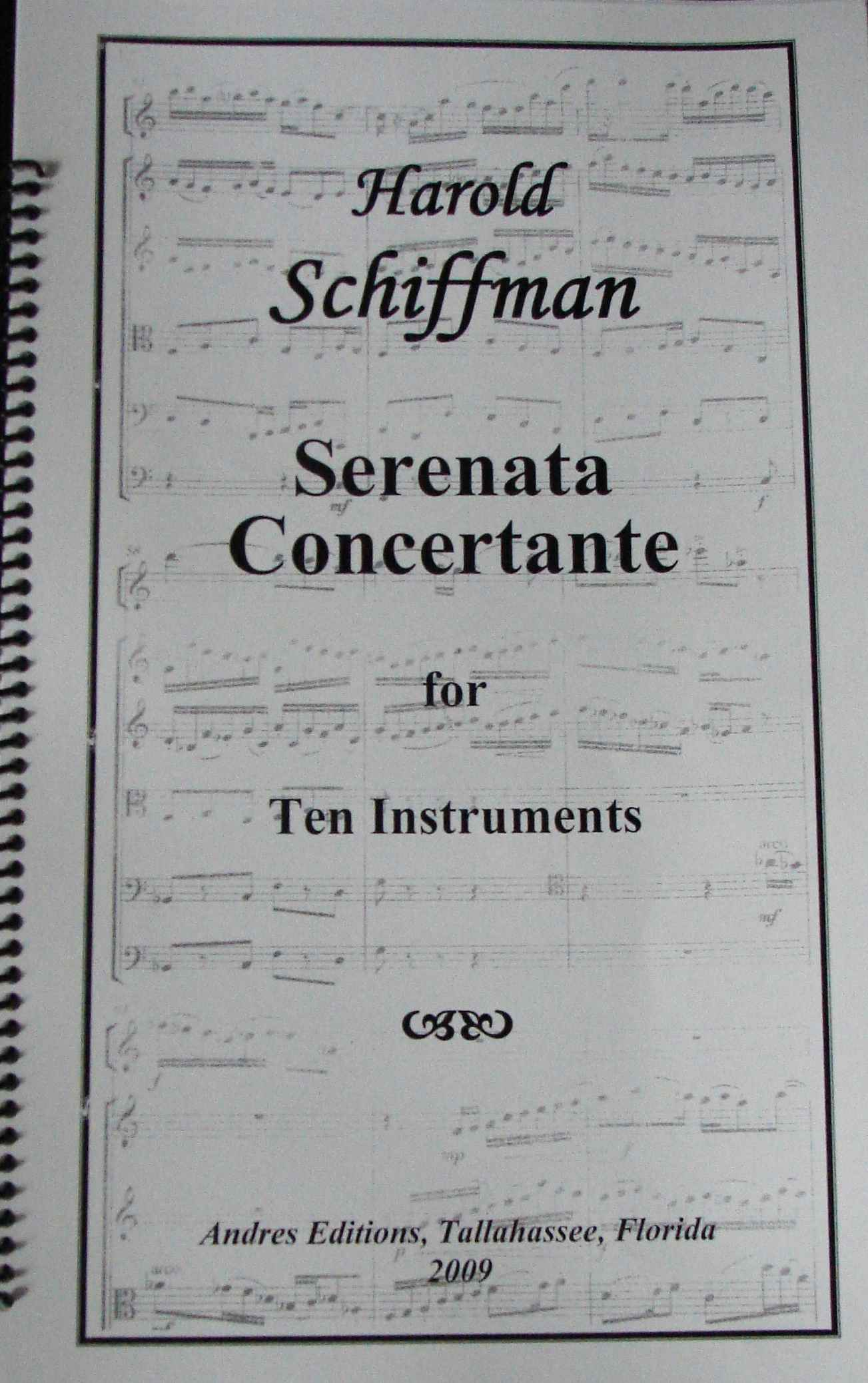 Photo of the Serenata Concertante (2009) score cover