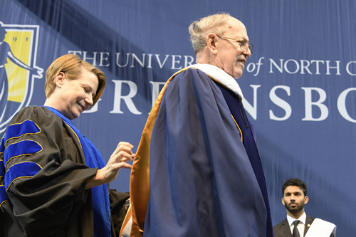 Photo of Provost & Executive Vice Chancellor Dana Dunn and Harold Schiffman