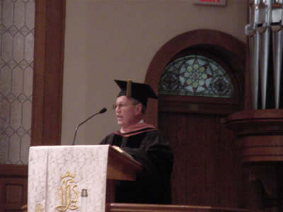 Photo of Commencement Address to the Graduates of the School of Music, The University of North Carolina at Greensboro, presented by Harold Schiffman. West Market Street United Methodist Church, Greensboro, North Carolina (14 May 2004)